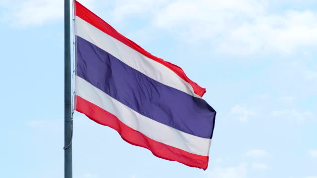 Thai Flag With Blue Sky.