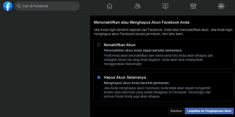 Cara Menghapus Akun Facebook Fb Secara Permanen 2