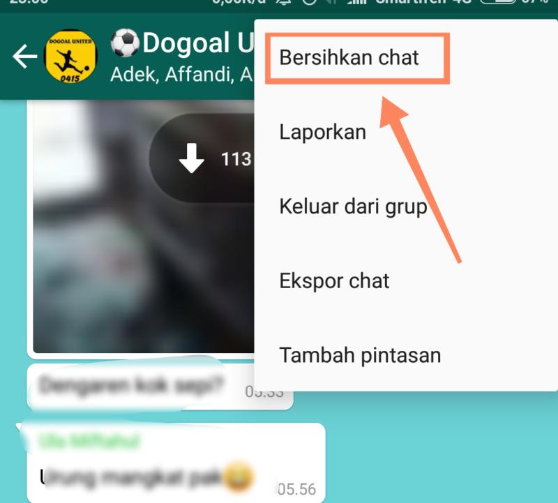 Cara Mengurangi Pemakaian Memori Whatsapp Dengan Menghapus Chat