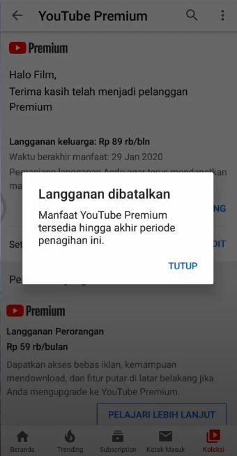 Foto Petunjuk Cara Berhenti Berlangganan Youtube Premium 6
