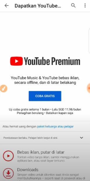 Foto Petunjuk Cara Berlangganan Youtube Premium Gratis 3
