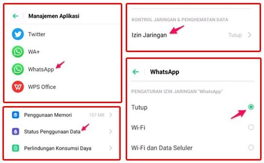 Menonaktifkan Izin Jaringan Whatsapp Di Pengaturan Android
