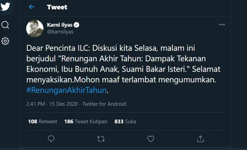Episode Terakhir Indonesia Lawyer Club 1