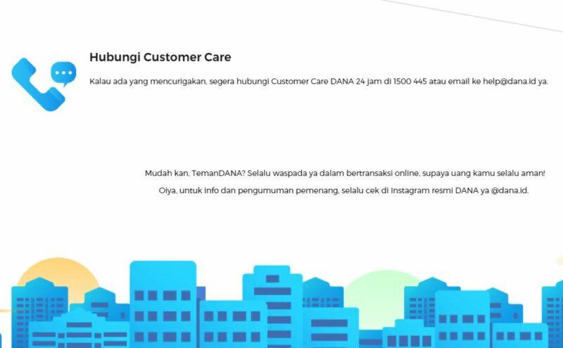 Menghubungi Customer Care DANA