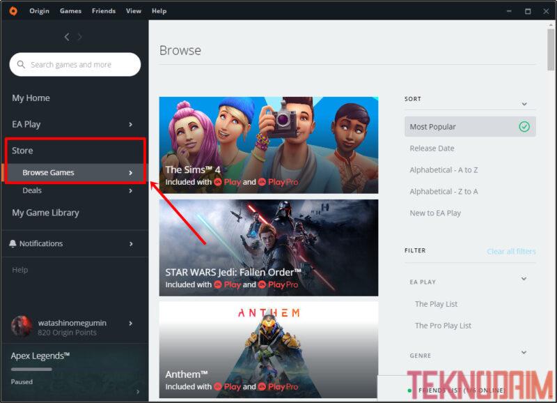 Cara Download Game di Laptop, Cari Game Origin Yang Ingin Kamu Download