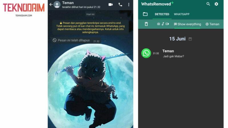 Lihat Semua pesan  yang terhapus Pada Notifikasi WhatsRemoved+